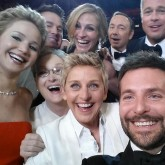 Bradley Cooper, Jennifer Lawrence, Brad Pitt and Angelina Jolie pose for an A-list Oscars selfie