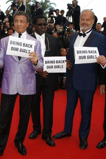 Bring Back Our Girls signs on the Cannes 2014 red carpet