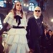 Cara Delevingne and Karl Lagerfeld at Chanel Metiers d'Art show