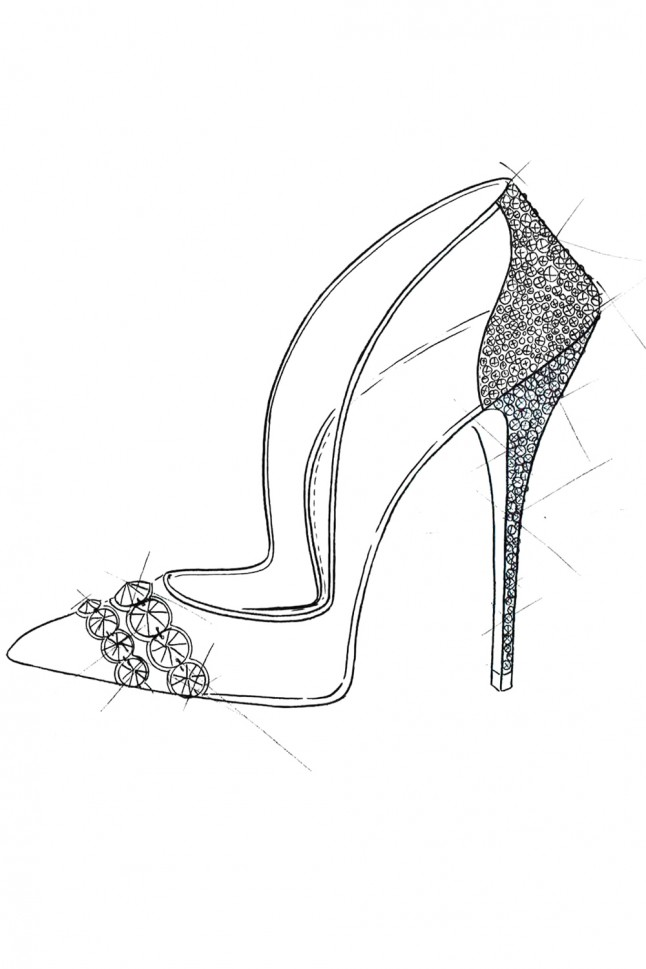 how to draw a glass slipper step by step