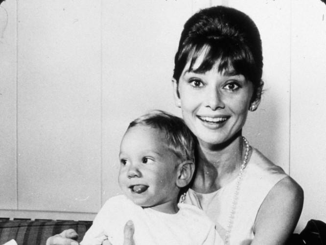 Audrey Hepburn with her son in 1961