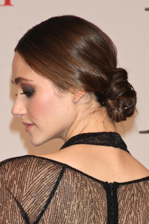 Emmy Rossum at CFDA Awards 2015 with an updo hairstyle