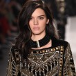 Kendall Jenner walking in H&M Balmain show