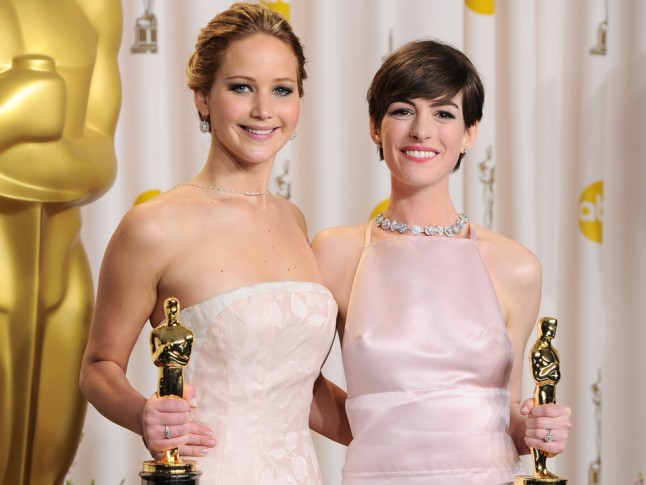 Jennifer Lawrence Anne Hathaway Friends Actresses Oscars