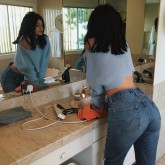 Kylie Jenner wearing Levi's Wedgie Fit Jeans